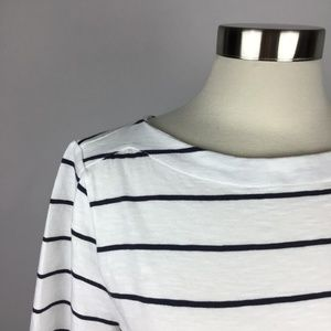 LOFT Boat Neck Short Sleeve Striped Tee Womens XL